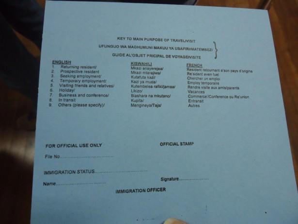 blue immigration form tanzania