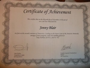 A certificate to prove I stepped foot on Mainland Antarctica
