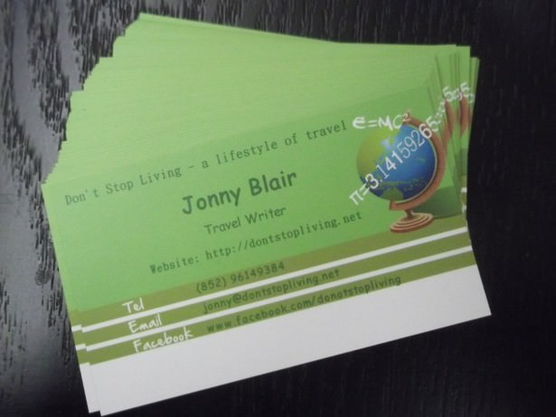 jonny blair dont stop living business cards
