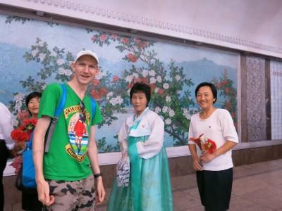 talking to locals at metro pyongyang