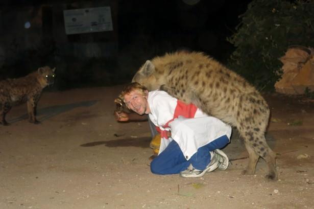 hyena jumping on my back