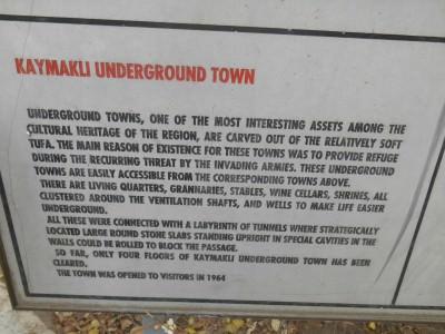 kaymakli cappadocia turkey information