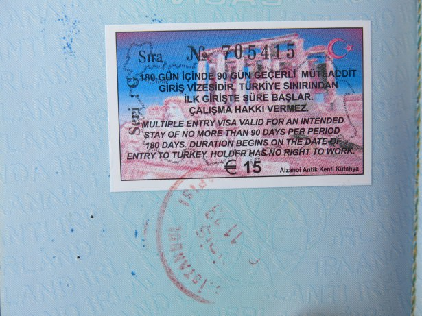 turkey visa and stamp