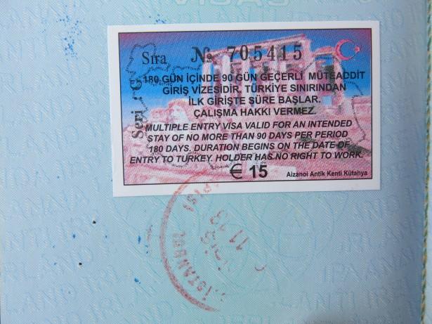 turkey visa and stamp