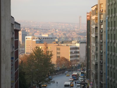 Looking down on Ankara from the 7th floor of the Hotel Capital