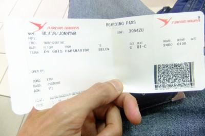 flight stub paramaribo belem