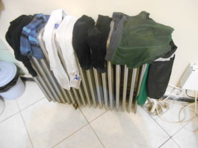 drying clothes on radiator