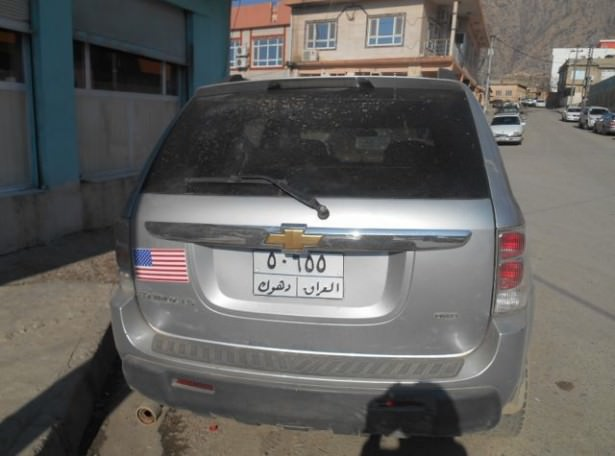 us flag on car in amadiya