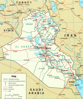 iraq border map