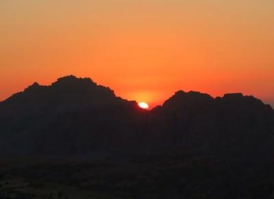 wadi musa jordan sunset