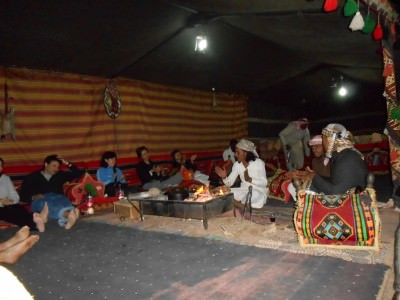Campfire at night in the Wadi Rum desert on my 10 year travel anniversary.