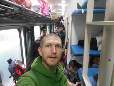 Staying safe recently on a slow train through China.