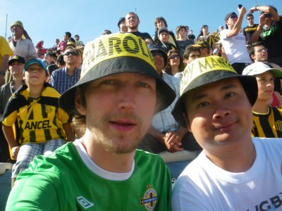 Wesley and I watching Penarol in the Colombes end.