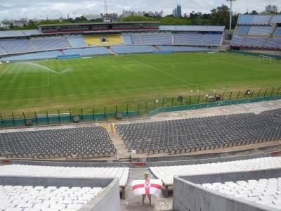 Flying the Northern Ireland flag inside Estadio Centenario, Montevideo, Uruguay.