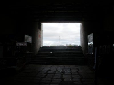 Walking up the steps into the stadium (not the players entrance to the pitch by the way...