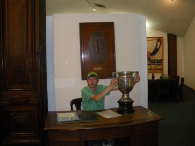 Taking home a trophy for Glentoran FC.
