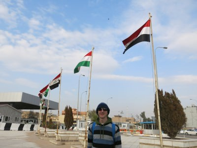 Outside one of the security entrances to the parliament in Erbil, Kurdistan.