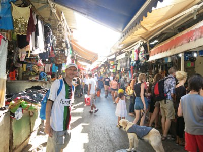 Shopping in a market in Tel Aviv, Israel.