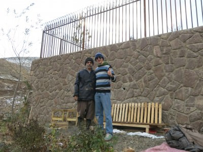 Issa and I on his plot of land in the wonderful area known as Zarad Band.