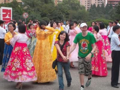 dancing locals north korea
