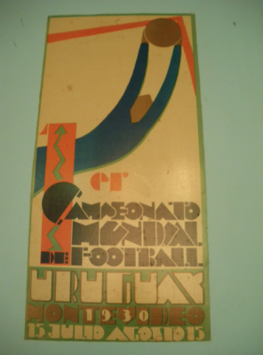 Poster for the first World Cup in Uruguay, which Uruguay won.