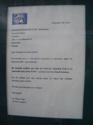 A letter than proves Defensor Sporting from Montevideo are the oldest football club in South America.