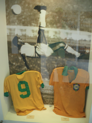 Signed Pele shirts.
