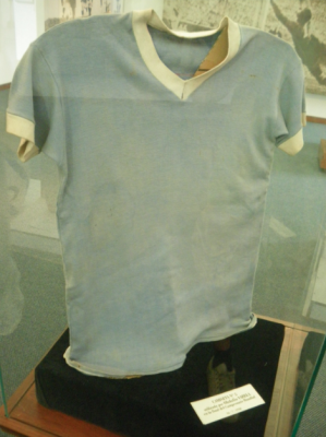 A shirt worn by a Uruguayan in the 1950 World Cup final when they beat Brazil 2-1.