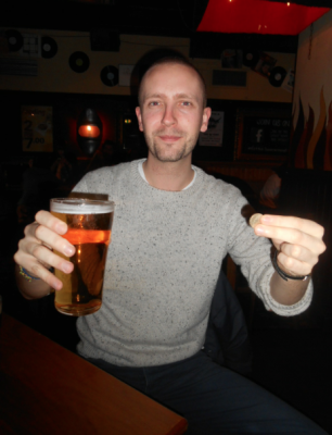 Alan with his pint of Tennents which was ONE POUND.