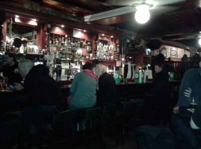The bar at Durty Nelly's, Amsterdam.