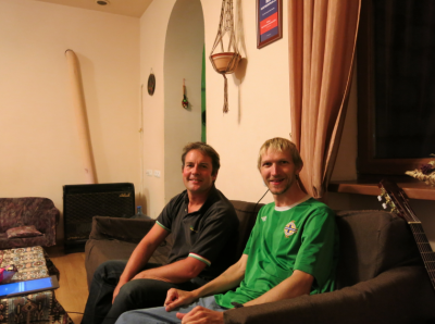 With Graeme Duke from Scotland at the Penthouse Hostel in Yerevan, Armenia