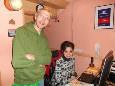 With Mani one of the staff at Penthouse Hostel Yerevan