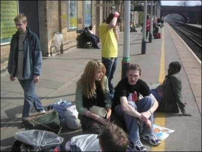 Backpacking at Leicester - hanging around waiting for a train with my University buddy Rachael Ward.