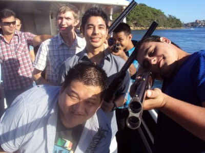 The lads on a clay pigeon shooting on the boat night out.