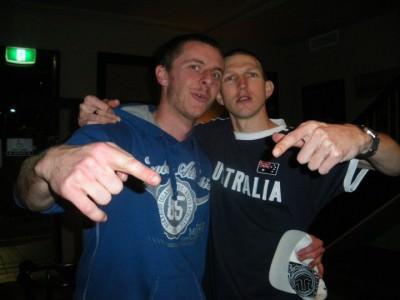 Partying with Michael Klamo on my last night living in Australia.