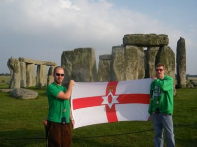 Myself and my good mate Richard flying the Northern Ireland flag at Stonehenge - one of my favourite backpacking spots in England.