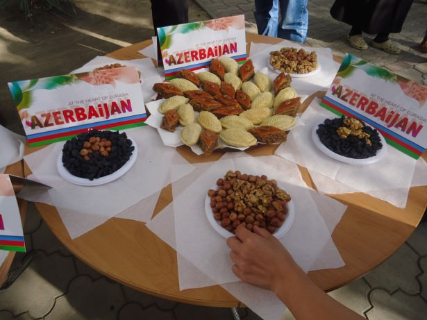 "Random free Azerbaijani ""food tasting"" session, on the day we had just arrived from Azerbaijan!"