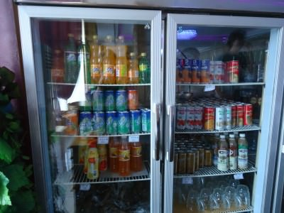 "A fridge in a restaurant in Pyongyang - all the ""normal"" stuff including 7Up, Coca Cola etc."