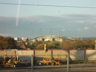 The Etihad Stadium - home of Manchester City - I took this from my train to Manc Airport in 2012...