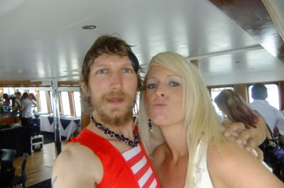 With Jenni out on the party boat.