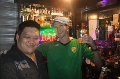 With Paul Hewitt having whiskeys in his bar.