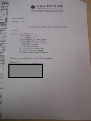 The list of supporting documents with my Hong Kong Working Visa application.