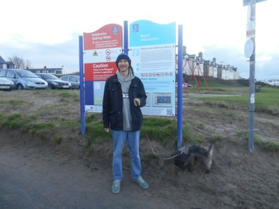 In my hometown of Bangor, Northern Ireland with Rocky, our family dog.