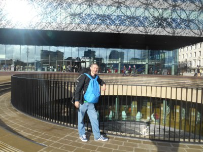 Backpacking in Birmingham - outside the funky library.