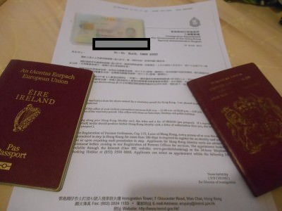 The letter for collecting the Hong Kong Working Visa.
