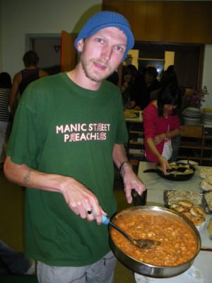 Cooking at a hostel party in Devonport in Australia, 2010.