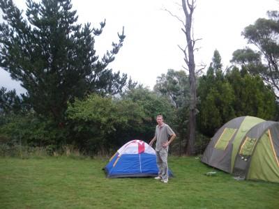 Camping in Poatina, Tasmania in 2010