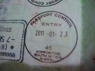 south africa visa stamp