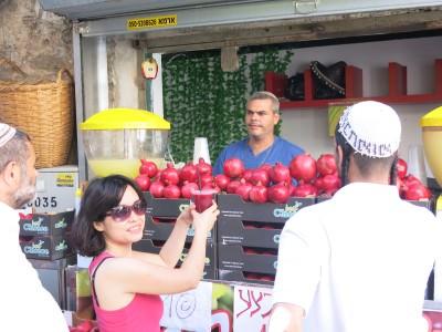 Pomegranate Juice in Jaffa Market.