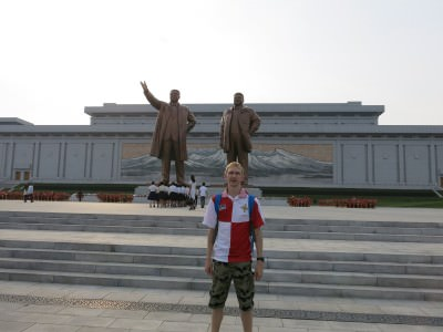 At the Mansudae Monuments in Pyongyang.